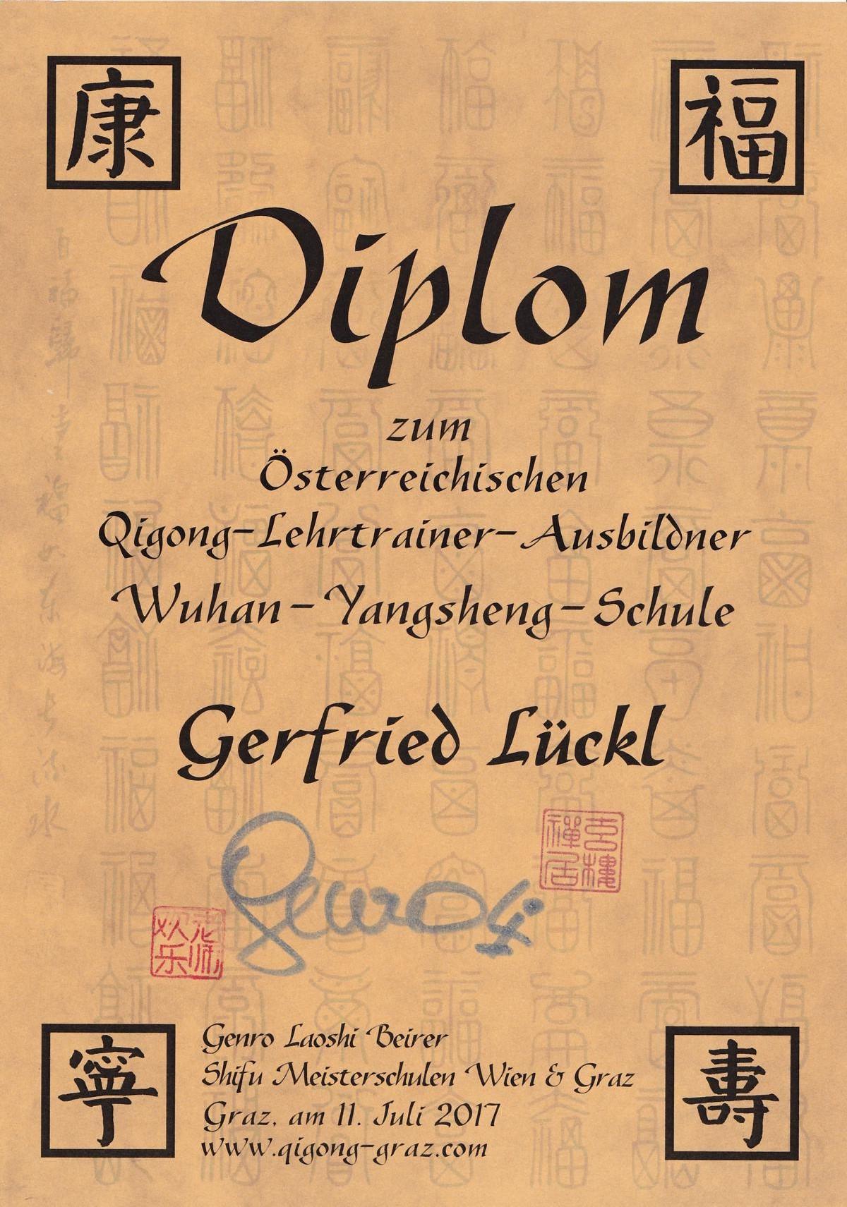Gerfried Lückl Qi Gong Zeugnis Meditation
